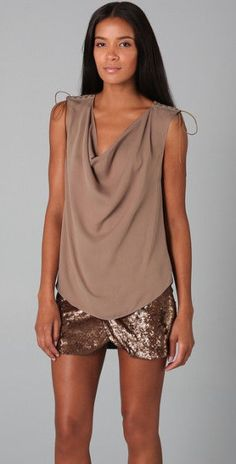 Beautiful HAUTE HIPPIE  Cowl Top with Lacing, Taupe, sz XS