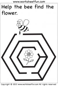 Preschool Worksheets Kindergarten Worksheets More Mazes Fun Printable Mazes for Kids - Hexagon shape maze - Bee, Flower Help the bee find the flower. Mazes For Kids Printable, Printable Preschool Worksheets, Free Preschool, Kindergarten Worksheets, Worksheets For Kids, Preschool Activities, Maze Worksheet, Fun Math, Kids Learning