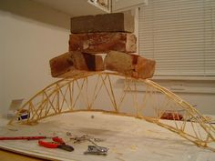 Strongest Toothpick Bridge | After adding some cross-bracing on the top, the span can finally ...