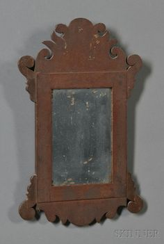 Early, small, country Chippendale looking glass in original red paint… Old Mirrors, Vintage Mirrors, Vintage Wood, Vintage Decor, Vintage Antiques, Primitive Living Room, Primitive Furniture, Country Primitive, Primitive Decor