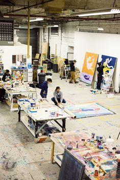 Behind the scenes at Patrick McNeil & Patrick Miller's FAILE Studio in Brooklyn, NY as they prepare for the Brooklyn Artist Ball Art Studio Design, Art Studio At Home, Atelier Photo, Artist Workspace, Painters Studio, Ann Street Studio, Art Studio Organization, Dream Studio, Ceramic Studio