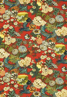 New direction for the library ... lets bring in red. Chiang Mai Dragon in Lacquer (173271) http://www.fschumacher.com/search/ProductDetail.aspx?sku=173271