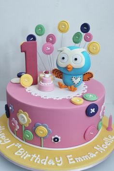 Giggle and hoot cake Twin Birthday Cakes, Birthday Cake With Flowers, Themed Birthday Cakes, Owl Cakes, Cupcake Cakes, Cupcakes, Bird Cage Cake, Baby Girl Cakes, Animal Cakes