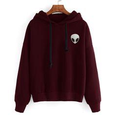 Burgundy Alien Print Hooded Sweatshirt (79 BRL) ❤ liked on Polyvore featuring tops, hoodies, long sleeve pullover, brown hooded sweatshirt, pullover hoodies, cotton pullovers and cotton pullover hoodie