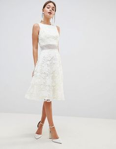 Buy Chi Chi London Crochet Lace Skater Dress with Crochet Insert at ASOS. Get the latest trends with ASOS now. Crochet Bridesmaids Dresses, Purple Bridesmaid Dresses, Lace Bridesmaids, White Wedding Dresses, Lace Midi Dress, Skater Dress, Chi Chi London Dress, Rehearsal Dinner Dresses, Little White Dresses