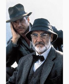 Portrait: Harrison Ford and Sean Connery on the set of Indiana Jones and the Last Crusade (1988)