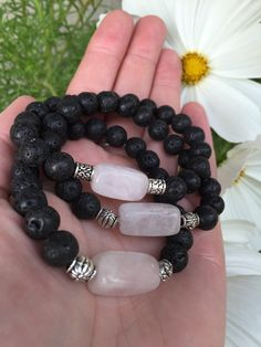LOVED Rose Quartz and Lava Stone Aromatherapy Essential Oil Diffusing Mala Bracelet.   I HAVE THIS ONE, I LOVE IT. LMM.