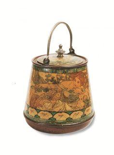 Art Nouveau Tin for Lefèvre-Utile Bisquit, designed by Alphonse Mucha 1899 Vintage Cutlery, Vintage Tins, Muebles Estilo Art Nouveau, Alphonse Mucha Art, Art Nouveau Furniture, Tin Boxes, Antique Shops, Household Items, Pottery