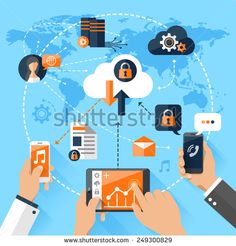 Flat vector illustration concept mobile devices connected onto a cloud data storage