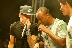 Neymar e Gabriel Medina dividem palco com Thiaguinho em show