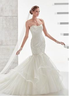 Buy discount Marvelous Tulle & Satin Strapless Neckline Mermaid Wedding Dresses With Lace Appliques at Dressilyme.com