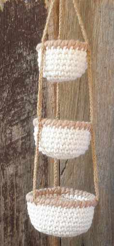 3 Tier Little Crochet Baskets with Brown rims Mini Hanging