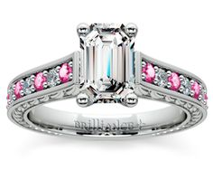 Emerald Antique Diamond & Pink Sapphire Gemstone Engagement Ring in White Gold  http://www.brilliance.com/engagement-rings/antique-diamond-pink-sapphire-gemstone-ring-white-gold