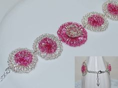 Hand Crochet Wire Bracelet, Crochet Wire Flower Bracelet, Crochet Wire Jewelry, Two-layer Flower Bracelet, Pink, Silver