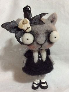 Goth kitty cat art doll by papermoongallery on Etsy