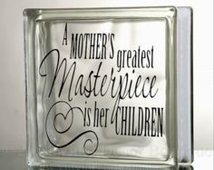 Mother Children Glass Block Decal Tile Mirrors DIY Decal for Glass Blocks Mother's children Masterpiece