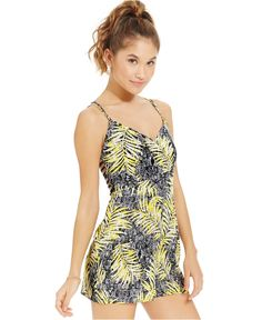 056f17deccc8 Material Girl Juniors  Printed Ladder-Cutout Romper Junior Rompers