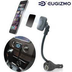 OMYGO Magnetic Car holder Stand Mount with dual USB Car Charger Cigarette Lighter Cradle for iPhone 6 5 4, Samsung Galaxy Sony Moto LG Universal Smartphone GPS PDA MP4. Easily install: After the installation, Blue LED indicator will be bright when you plug car charger into cigarette socket. Not only can it attach your smartphone, but also it can charge your device. Compatibility: Compatible with iPhone,motorola, Samsung, Nokia, HTC and more smartphones. 360 degree view angle: The goose…