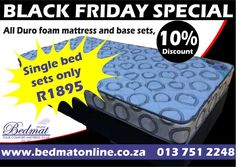 Our Dura foam Standard Mattress and base sets are on a 10% discount, exclusively available on the 29th of November.  These bed sets come with a 2-year warranty and have a weight limit of 70kg per person. Dimensions: 910 x 1880 x 150mm -Recommended for bunk beds -Entry-level bed -Covered in Quilted Warp Knit -One layer of foam mattress with good quality density of a reconstructed foam  Visit our online shop for more information #bedmat #blackfriday #bedset