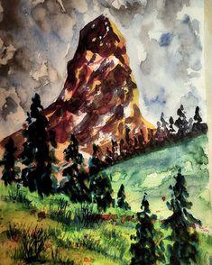 Matterhorn  #matterhorn #cervino #montcervin #zermatt #monterosa #4000m #valais #switzerland #alps #pennines #watercolor #watercolors #artwork #hobbyart Zermatt, Alps, Watercolors, Switzerland, Artwork, Painting, Instagram, Water Colors, Work Of Art