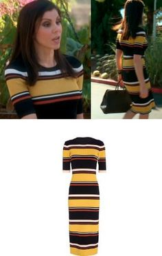 Heather Dubrow's Multi Colored Striped Knit Dress http://www.bigblondehair.com/real-housewives/heather-dubrows-striped-knit-short-sleeve-dress/ Real Housewives of Orange County Season 11 Episode 1 Fashion