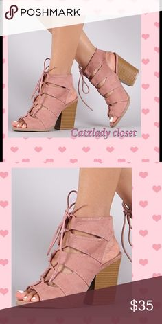 Gladiator chunk heel sandal lace up mauve NWT Gladiator chunk heel sandal lace up mauve NWT. Box may not be included depending on shipping box size availability. catzlady closet Shoes Sandals