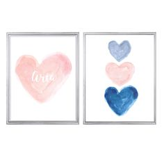 Blush and Navy Print Set, Set of 2 - 11x14 Personalized Prints Blue Nursery Girl, Blush Nursery, Navy Nursery, Nursery Art, Blue Bedroom, Master Bedroom, Grey Girls Rooms, Acrylic Painting For Beginners, Childrens Room Decor