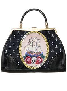 Totally Piratical Illustrated Handbag by Jubly-Umph Originals, BLACK, handbags,purses,rockabilly accessories,rockabilly style purse