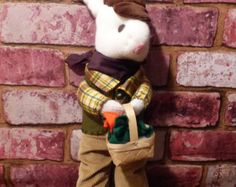 VINTAGE HANDMADE PETER RABBIT - OFF TO WOO THE LADIES OF HIS VILLAGE WITH FRESH CARROTS!