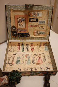 Denise Hahn Graphic 45 Ladies Diary Cigar Box Keepsake Box - 07 need to add to my desk Graphic 45, Cigar Box Projects, Cigar Box Crafts, Altered Tins, Altered Art, Mixed Media Boxes, Cigar Box Art, Kit Bebe, Creation Deco