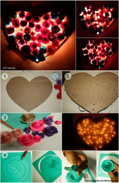 Valentine's Day special: A DIY Heart Lamp 1.Cut a card board in shape of a heart 2.Pierce Christmas/LED lights through it 3.Make lots of ...