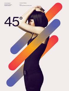 poster idea 45 degrees gradient elements shapes design with model null