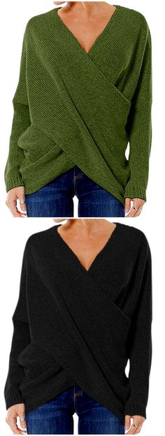 Choies Women's Stylish Criss Cross Wrap Front Loose Fit Baggy Sweater Jumper
