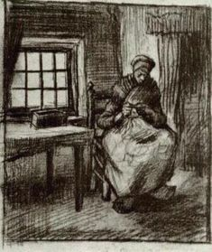 Interior with Peasant Woman Sewing, 1885, Vincent van Gogh Medium: chalk on paper