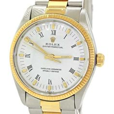 Pre-owned Rolex Oyster Perpetual 1005 18K Gold Steel Two Tone White... ($2,495) ❤ liked on Polyvore