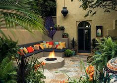 Gorgeous Moroccan patio is perfect for a home with Mediterranean theme