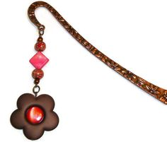 Copper Flower Bookmark with Coral Red & Brown Bead by BlissfulVine, $7.25