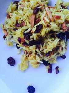 Saffron rice with toasted almonds, cranberries and golden raisins. Read the recipe here http://cravedujour.com/spring-side-dishes-saffron-rice/