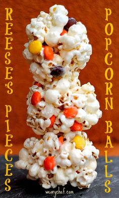 Fall Popcorn Balls with Reeses Pieces | The Weary Chef