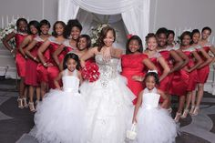 Please see our happy bride and love our gown so much. She sent her wedding pictures to us. We make those 2 gowns and all of the bridesmaid dresses. They are so beautiful.