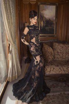 beautiful black lace evening dress