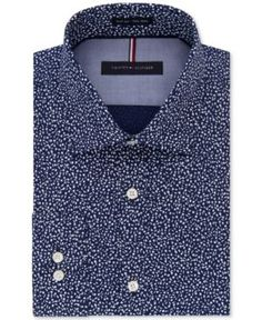 Tommy Hilfiger Men's Slim-Fit Soft-Touch Performance Non-Iron Navy Print Dress Shirt - Blue 17.5 36/37