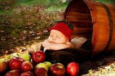 Baby in apple basket