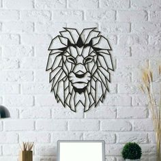 Power, serenity and strength show in this metal wall decoration. This lion wall art will decorate your room and give you the power which king of the forest holds. Lion Head safari wall art is a perfect decor to create a modern look on your walls. Geometric Lion, Geometric Wall, Lion Wall Art, Framed Wall Art, Wall Décor, 3d Wall Art, Metal Wall Decor, Diy Wall, Metallic Decor