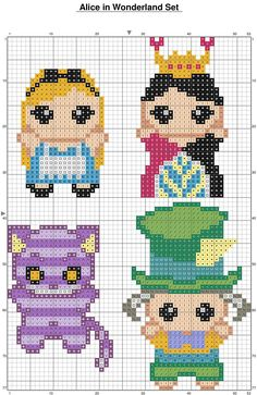 Alice in Wonderland perler bead patterns. I think I could do this in cross stitch and make ornaments, or maybe put them on a quilt.