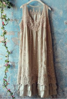 ✪☯☮ॐ American Hippie Bohemian Style Boho ~ Lace Slip Dress!