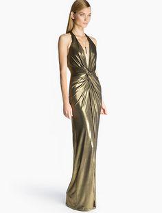 Halston Heritage Metallic Jersey Gown