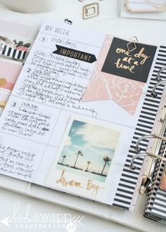 What's a planner if the pages are not actually finished? It can be a bit of a creative discipline to actually complete planner pages, but my! is it worth it. Today's post will take you on a tour of th Planner Layout, Planner Pages, Planner Stickers, Planner Ideas, Passion Planner, Life Planner, Happy Planner, Heidi Swapp, Day Planners