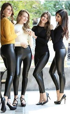 e0dcb759bad79 Lovely Ladies in Leather  Miscellaneous Leather Tight Pants and Shiny  Leggings (Part Fifteen)
