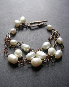 Pearl Copper Bracelet. Wire Wrapped Bracelet. Pearl Bracelet - Kennerly Bracelet